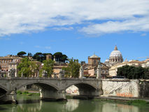 View across the bridge toSt. Peter's Cathedral in Vatican Royalty Free Stock Image