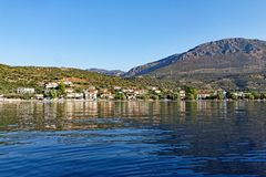 View of Small Fishing Village From Gulf of Corinth Bay, Greece. Stock Photo