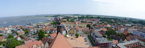 View across the center of Barth. With main square, Germany royalty free stock photos