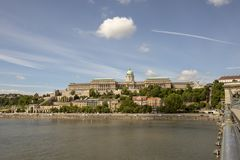 Buda Castle Hill in Budapest Hungary. View across Chain Bridge of Buda Castle Hill district in Budapest, Hungary along Danube River waterfront royalty free stock photography