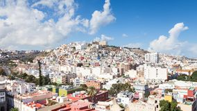The view across Las Palmas towards `the Painted Hillside`. The view across the city of Las Palmas towards `the painted hillside` on the Spanish island of Gran Stock Image