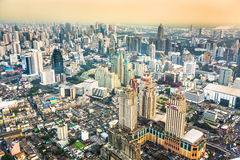 View across the city in sunset in Bangkok Stock Photos