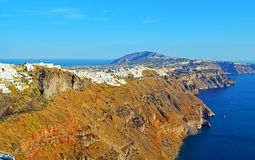 Scenic view of Santorini island landscape Greece. View across collapsed caldera of magnificent Santorini island with Fira town traditional cycladic cubist homes Stock Photos