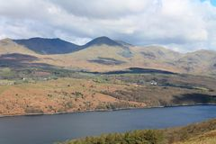 View across Coniston Water UK. UK Cumbria. English Lake District National Park. Coniston Furness UK. View across Coniston Water towards the English Lake District royalty free stock photo