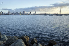 View across Coronado Bay as the early morning Southern California sun warms up San Diego Royalty Free Stock Photo