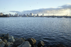 View across Coronado Bay as the early morning Southern California sun warms up San Diego Royalty Free Stock Images
