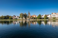 View across the Danube to the old town of Ulm. With a height of 161,53 m the Ulm Minster is the highest steeple on earth royalty free stock image