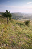 View across English countryside landscape during late Summer eve Royalty Free Stock Photos