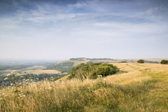 View across English countryside landscape during late Summer eve Stock Image
