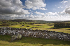 View across fields towards Wharfe Dale in Yorkshire Dales Stock Photos