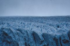 View across the fractured ice of a glacier stock image