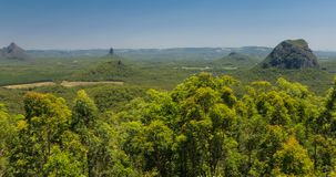 A view across the Glass House Mountains National Park, Australia stock video footage