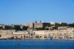 City buildings and harbour, Valletta. Stock Image