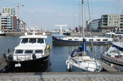 A view across the harbor in Antwerp Stock Photos
