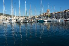 Free View Across La Ciotat Harbour Reflections Water Yachts Royalty Free Stock Image - 185271096