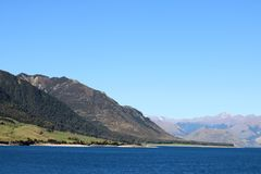 View across Lake Hawea, South Island, New Zealand. View south east across and down Lake Hawea on a sunny spring day. Looking from Lake Hawea lookout on state royalty free stock photos