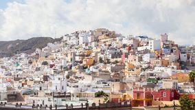 The view across Las Palmas towards `the Painted Hillside`. The view across the city of Las Palmas towards `the painted hillside` on the Spanish island of Gran Stock Photo