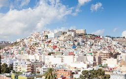 The view across Las Palmas towards `the Painted Hillside`. The view across the city of Las Palmas towards `the painted hillside` on the Spanish island of Gran Royalty Free Stock Photography
