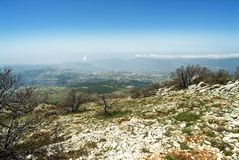 View across Lebanon from the Shouf Biosphere Reserve mountains, Lebanon. Panorama view of Lebanon from the huge Shouf Biosphere Reserve in the Chouf Mountains of royalty free stock photography