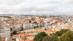 The View Across the Lisbon Skyline in Portugal. The view from Sao Jorge castle across the Lisbon skyline in Portugal Royalty Free Stock Photography