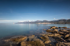 View across Mediterranean at St Florent bay in Corsica Royalty Free Stock Photos