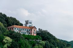 View across Montallegro including Casa del Pellegrino. View across Montallegro including albergo Casa del Pellegrino, Liguria, Italy stock image