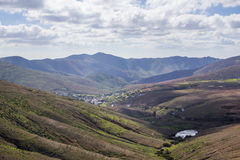 View across the mountains and a village  Fuerteventura Canary is Stock Image