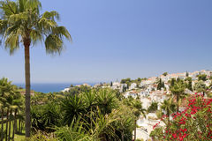 View across Nerja out to the sea Stock Image