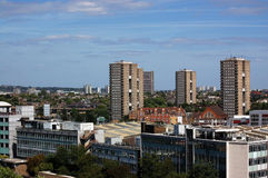 View across North West London. A view of the skyline of North West London with the tower blocks of North Kensington and in the foreground the Central Line Royalty Free Stock Photography