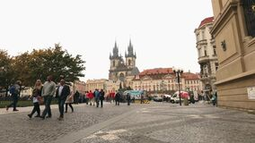 View across the Old Square towards the Tyn Church, Prague, timelapse, Czech Republic, the central square of Prague. Prague Castle, Europe, October, 2017 stock video