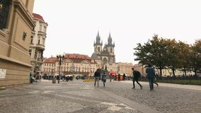 View across the Old Square towards the Tyn Church, Prague, timelapse, Czech Republic, the central square of Prague. Prague Castle, Europe, October, 2017 stock footage
