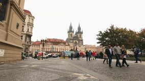 View across the Old Square towards the Tyn Church, Prague, timelapse, Czech Republic, the central square of Prague. Prague Castle, Europe, October, 2017 stock video footage