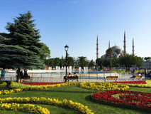 View across park to Blue Mosque in Istanbul Stock Photos