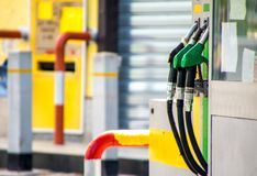 Petrol Pumps. A view across petrol and diesel pumps at a gas station royalty free stock photos