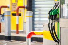Petrol Pumps. A view across petrol and diesel pumps at a gas station stock photography