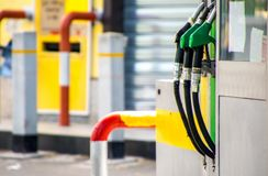 Petrol Pumps. A view across petrol and diesel pumps at a gas station royalty free stock photography