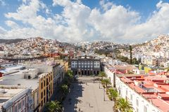 The View Across Plaza Santa Ana in Las Palmas de Gran Canaria. The view across Plaza Santa Ana towards the old town hall in Las Palmas on the Spanish island of Stock Photo