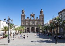 The view across Plaza Santa Ana towards Santa Ana Cathedral. In Las Palmas on the Spanish island of Gran Canaria Royalty Free Stock Images