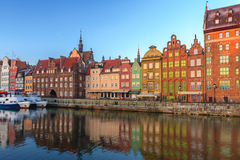 View across the river on old town of Gdansk Royalty Free Stock Image