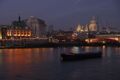 Night Thames. View across the River Thames at night stock image