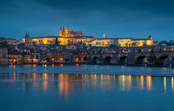 View across the River Valava at Sunset Stock Images