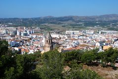View across rooftops, Velez Malaga, Spain. stock images