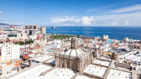 The View Across Santa Ana Cathedral in Las Palmas. Towards the Atlantic Ocean on the Spanish island of Gran Canaria Royalty Free Stock Images