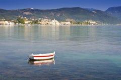 View across the sea to Moraitika, Corfu, Greece Royalty Free Stock Photo