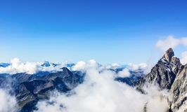 Snow covered mountains of the French Alps stock photo