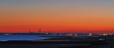 A view across the Solent ,Fawley oil refinery Stock Images