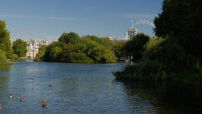 View across St James Park Lake stock video footage