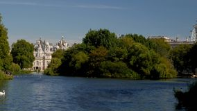 View across St James Park Lake stock footage