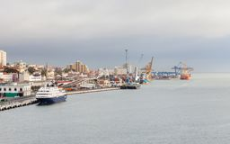 The View Across the Tagus River Towards the Port of Lisbon.  Royalty Free Stock Photo