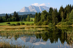 View across Tennsee Lake to the German Alps Stock Image